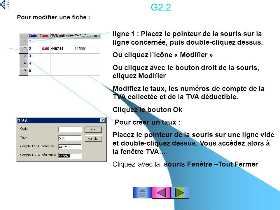 G2.1 Pour supprimer une fiche : Placez le pointeur de la souris sur une ligne et double-cliquez dessus. Vous accédez alors à la fenêtre TVA. Mettez à