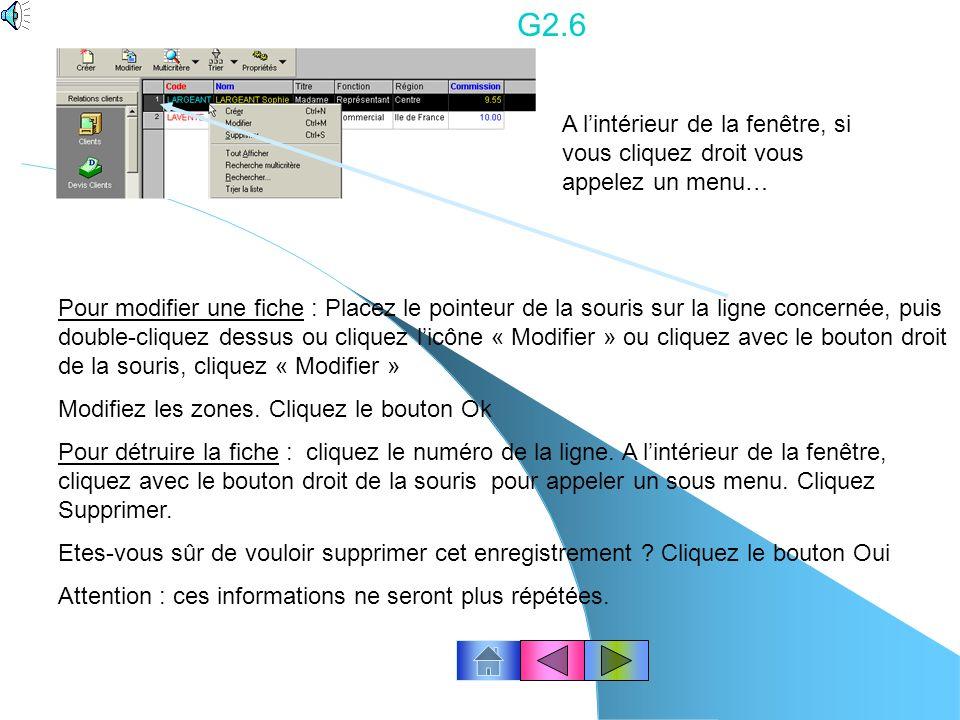 G2.5 Cliquez le bouton « Créer » Zone Code et Nom : saisissez les données Zone Titre, cliquez le bouton de recherche qui permet laffichage de la liste