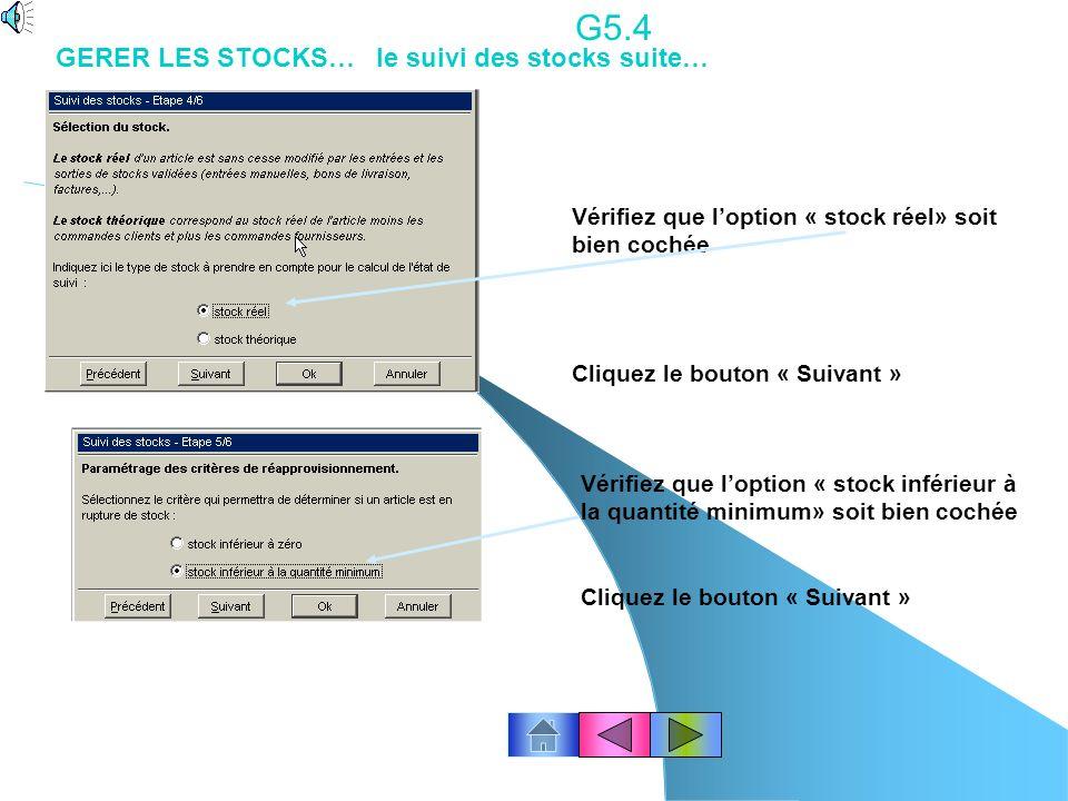 G5.3 GERER LES STOCKS… Létat de réapprovisionnement (suivi du stock ) Il permet de déterminer la liste des articles pour lesquels le niveau de rupture du stock d un article (stock réel inférieur au stock minimum) est atteint.