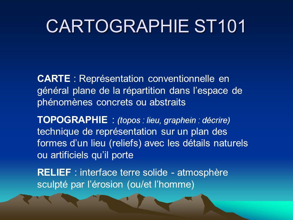 CARTOGRAPHIE ST101 CARTE : Représentation conventionnelle en général plane de la répartition dans lespace de phénomènes concrets ou abstraits TOPOGRAP