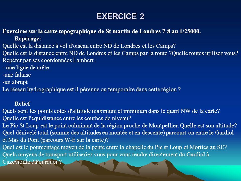 EXERCICE 2 Exercices sur la carte topographique de St martin de Londres 7-8 au 1/25000. Repérage: Quelle est la distance à vol d'oiseau entre ND de Lo