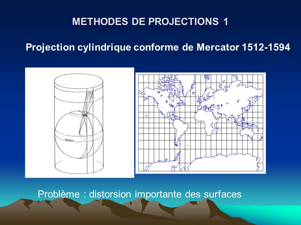 METHODES DE PROJECTIONS 1 Projection cylindrique conforme de Mercator 1512-1594 Problème : distorsion importante des surfaces