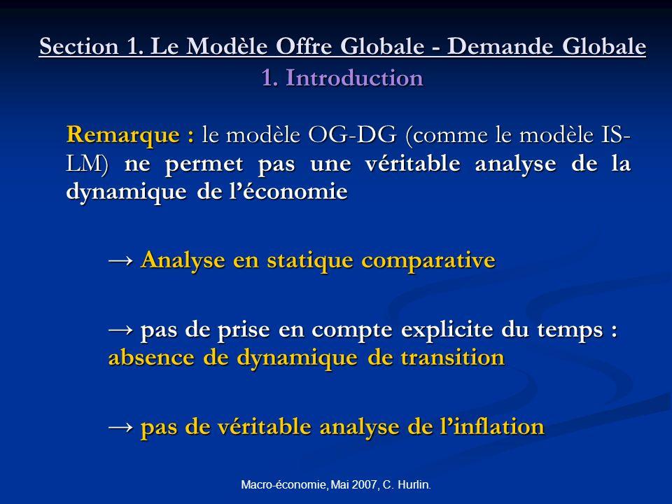Macro-économie, Mai 2007, C. Hurlin. Section 1. Le Modèle Offre Globale - Demande Globale 1. Introduction Remarque : le modèle OG-DG (comme le modèle