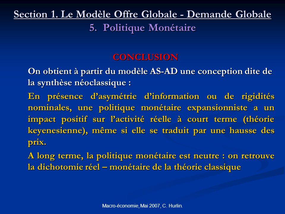 Macro-économie, Mai 2007, C. Hurlin. Section 1. Le Modèle Offre Globale - Demande Globale 5. Politique Monétaire CONCLUSION On obtient à partir du mod