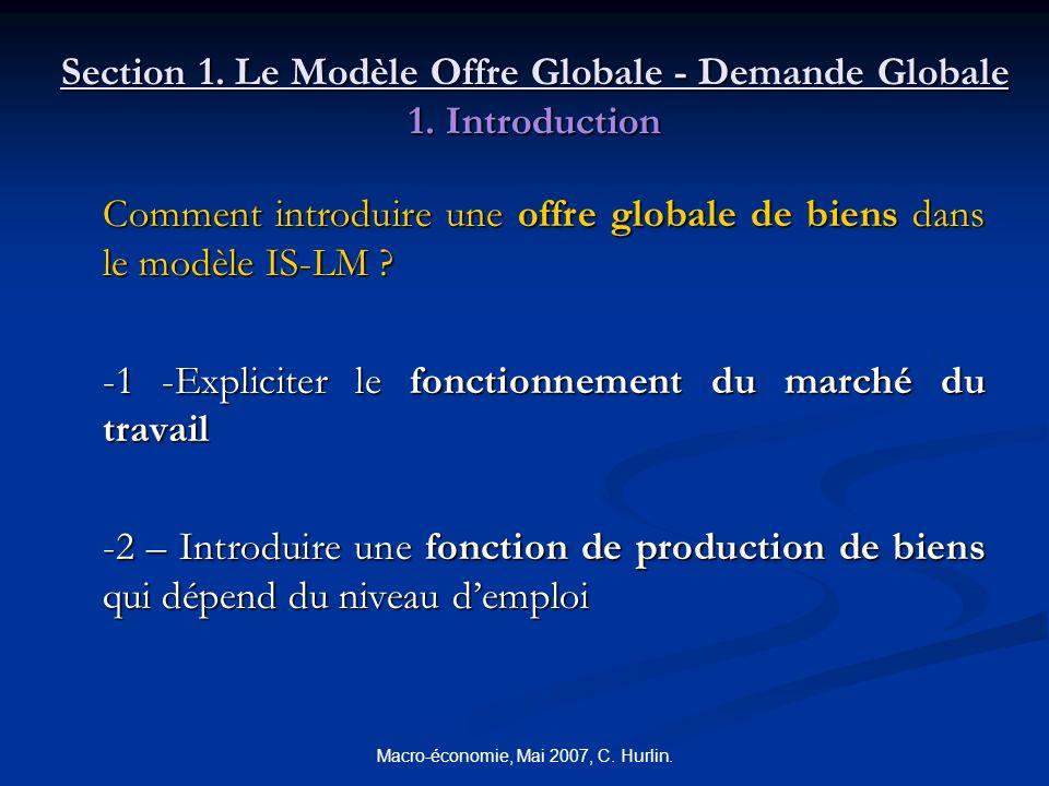Macro-économie, Mai 2007, C. Hurlin. Section 1. Le Modèle Offre Globale - Demande Globale 1. Introduction Comment introduire une offre globale de bien