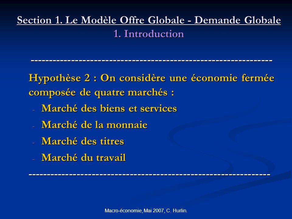 Macro-économie, Mai 2007, C. Hurlin. Section 1. Le Modèle Offre Globale - Demande Globale 1. Introduction --------------------------------------------