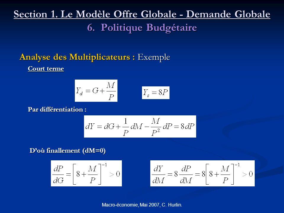 Macro-économie, Mai 2007, C. Hurlin. Section 1. Le Modèle Offre Globale - Demande Globale 6. Politique Budgétaire Analyse des Multiplicateurs : Exempl