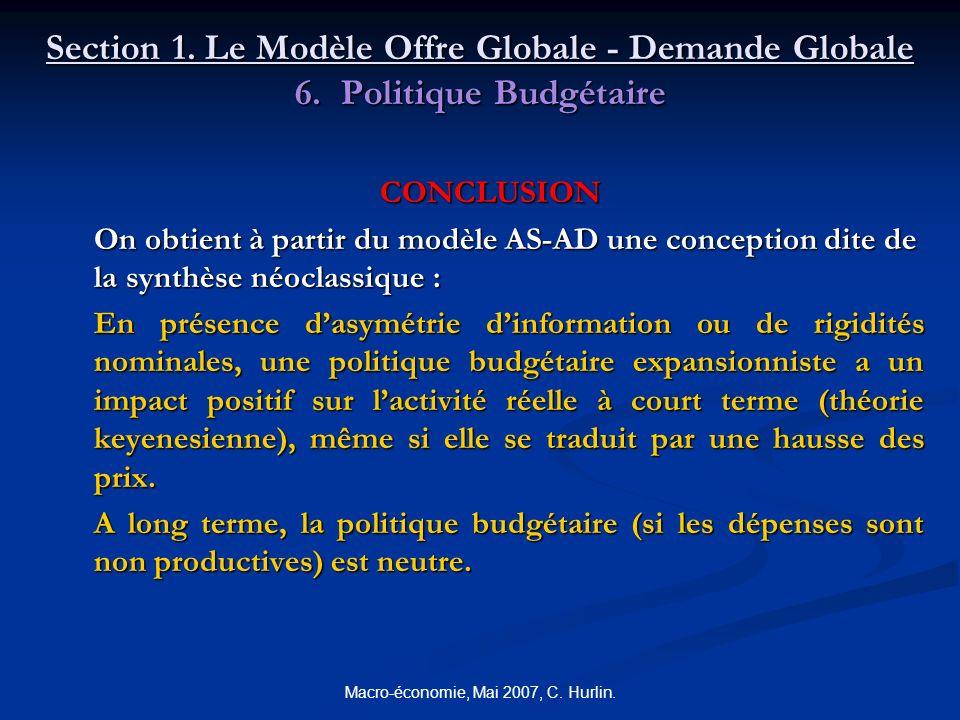 Macro-économie, Mai 2007, C. Hurlin. Section 1. Le Modèle Offre Globale - Demande Globale 6. Politique Budgétaire CONCLUSION On obtient à partir du mo
