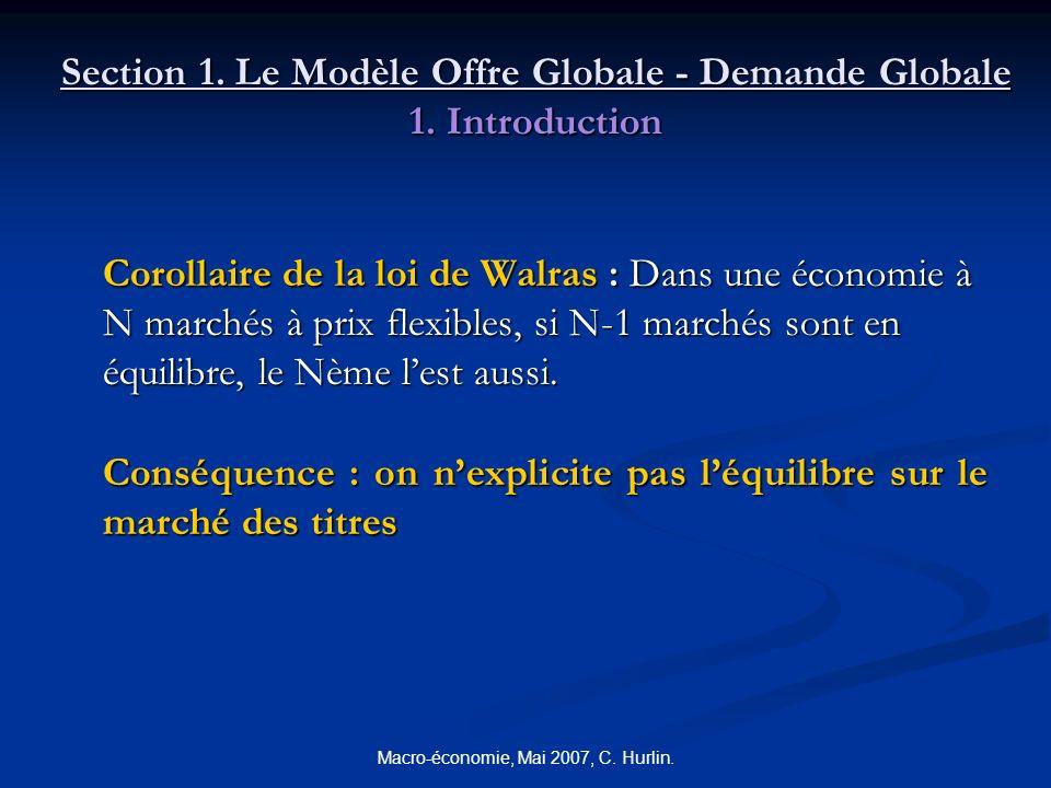 Macro-économie, Mai 2007, C. Hurlin. Section 1. Le Modèle Offre Globale - Demande Globale 1. Introduction Corollaire de la loi de Walras : Dans une éc