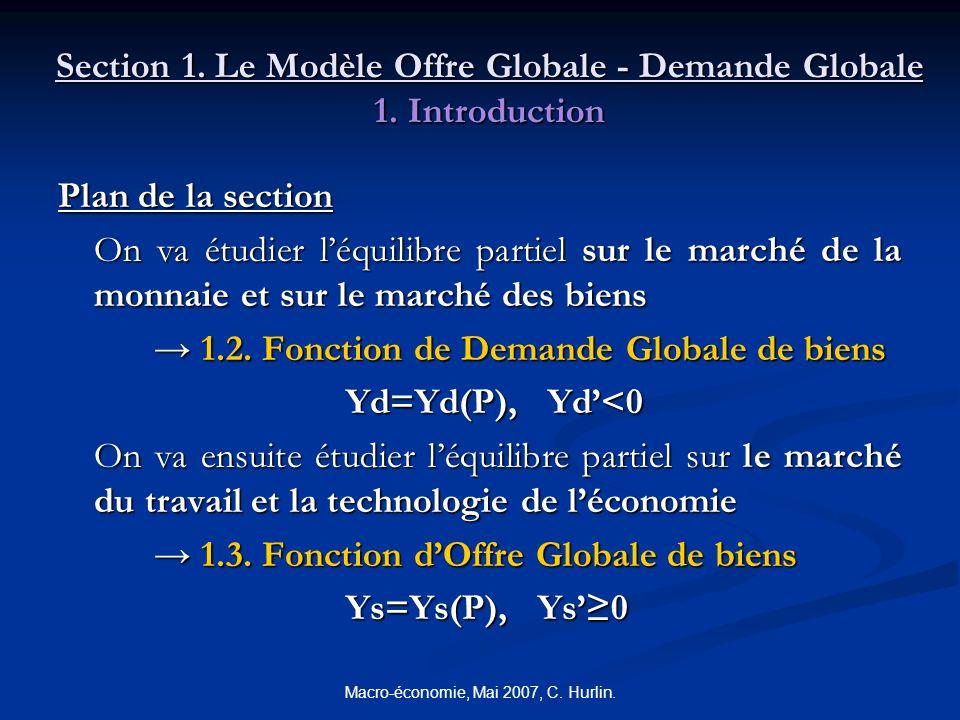 Macro-économie, Mai 2007, C. Hurlin. Section 1. Le Modèle Offre Globale - Demande Globale 1. Introduction Plan de la section On va étudier léquilibre