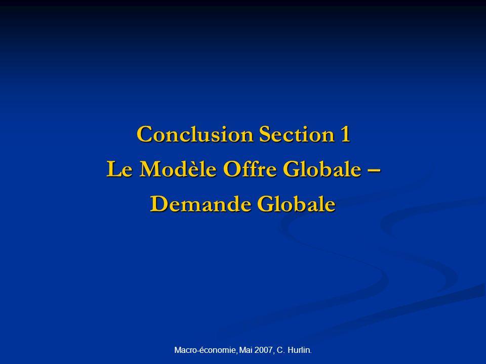 Macro-économie, Mai 2007, C. Hurlin. Conclusion Section 1 Le Modèle Offre Globale – Demande Globale