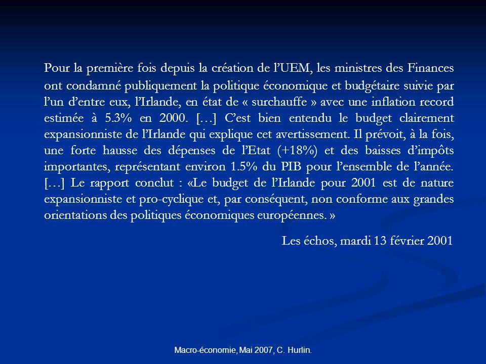Macro-économie, Mai 2007, C. Hurlin. Pour la première fois depuis la création de lUEM, les ministres des Finances ont condamné publiquement la politiq