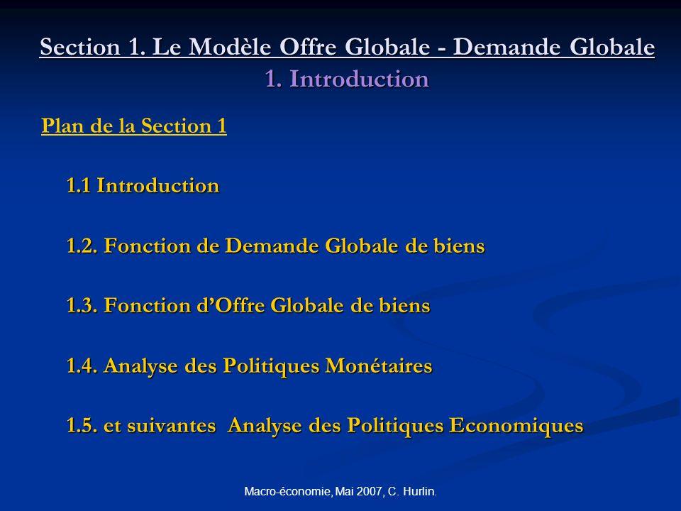Macro-économie, Mai 2007, C. Hurlin. Section 1. Le Modèle Offre Globale - Demande Globale 1. Introduction Plan de la Section 1 1.1 Introduction 1.2. F