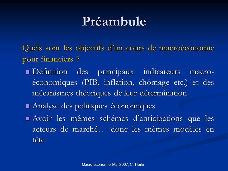Macro-économie, Mai 2007, C. Hurlin. Préambule Quels sont les objectifs dun cours de macroéconomie pour financiers ? Définition des principaux indicat