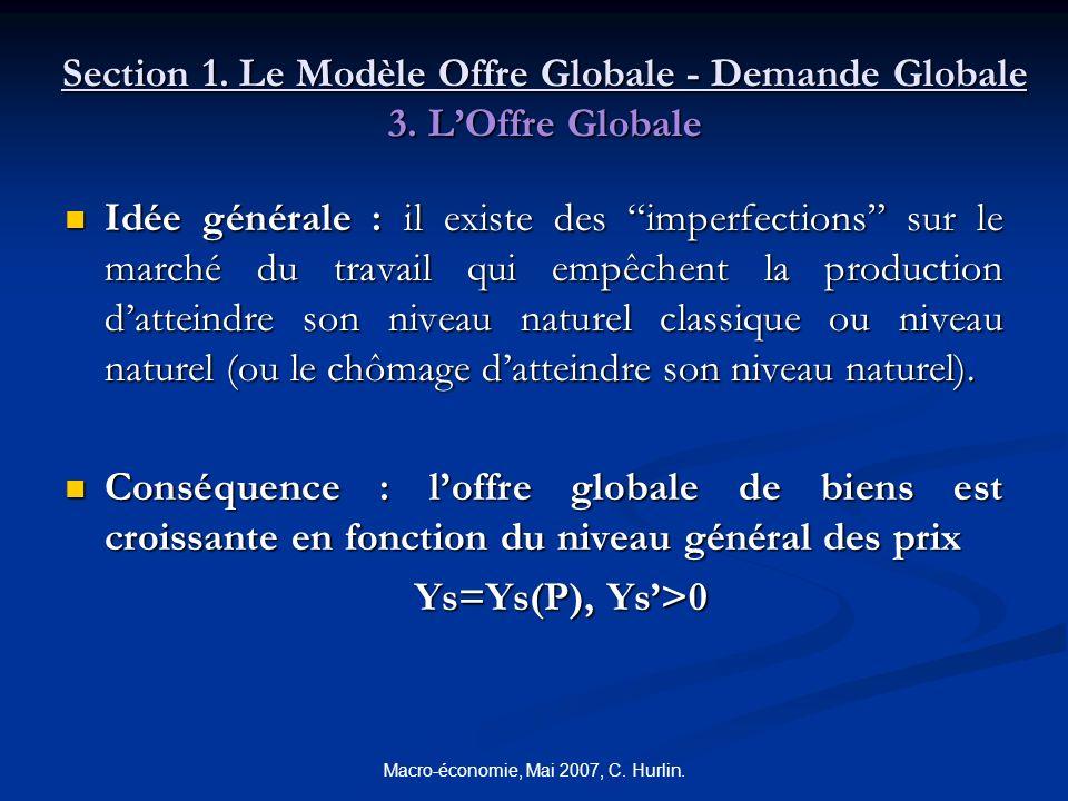 Macro-économie, Mai 2007, C. Hurlin. Section 1. Le Modèle Offre Globale - Demande Globale 3. LOffre Globale Idée générale : il existe des imperfection