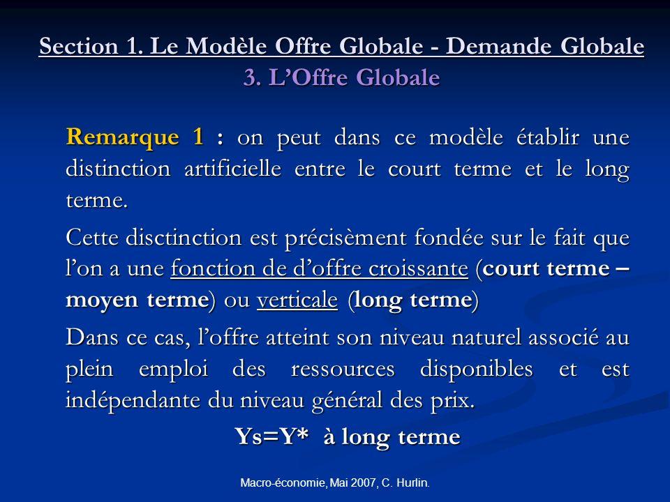 Macro-économie, Mai 2007, C. Hurlin. Section 1. Le Modèle Offre Globale - Demande Globale 3. LOffre Globale Remarque 1 : on peut dans ce modèle établi