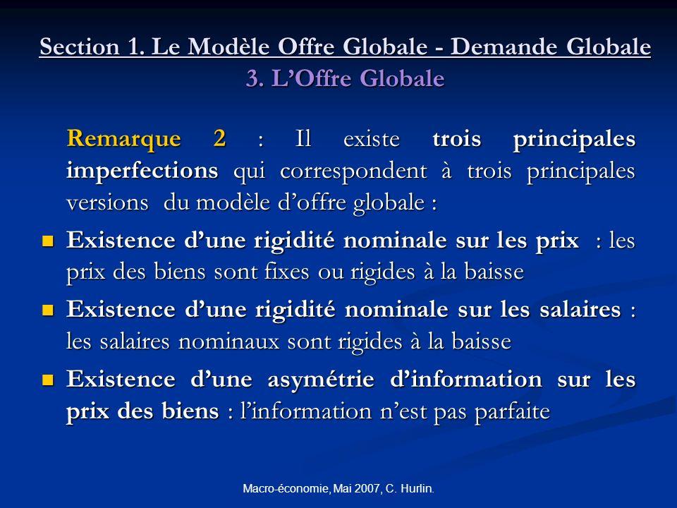 Macro-économie, Mai 2007, C. Hurlin. Section 1. Le Modèle Offre Globale - Demande Globale 3. LOffre Globale Remarque 2 : Il existe trois principales i