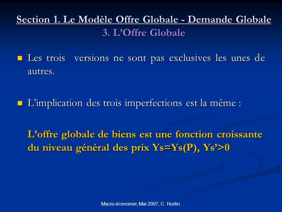Macro-économie, Mai 2007, C. Hurlin. Section 1. Le Modèle Offre Globale - Demande Globale 3. LOffre Globale Les trois versions ne sont pas exclusives