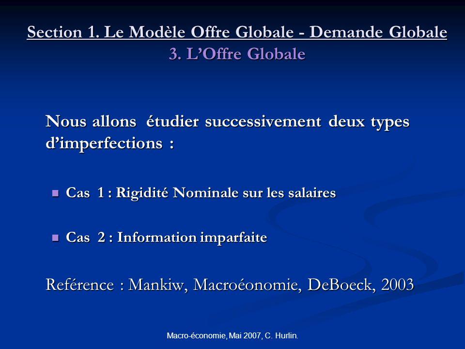 Macro-économie, Mai 2007, C. Hurlin. Section 1. Le Modèle Offre Globale - Demande Globale 3. LOffre Globale Nous allons étudier successivement deux ty