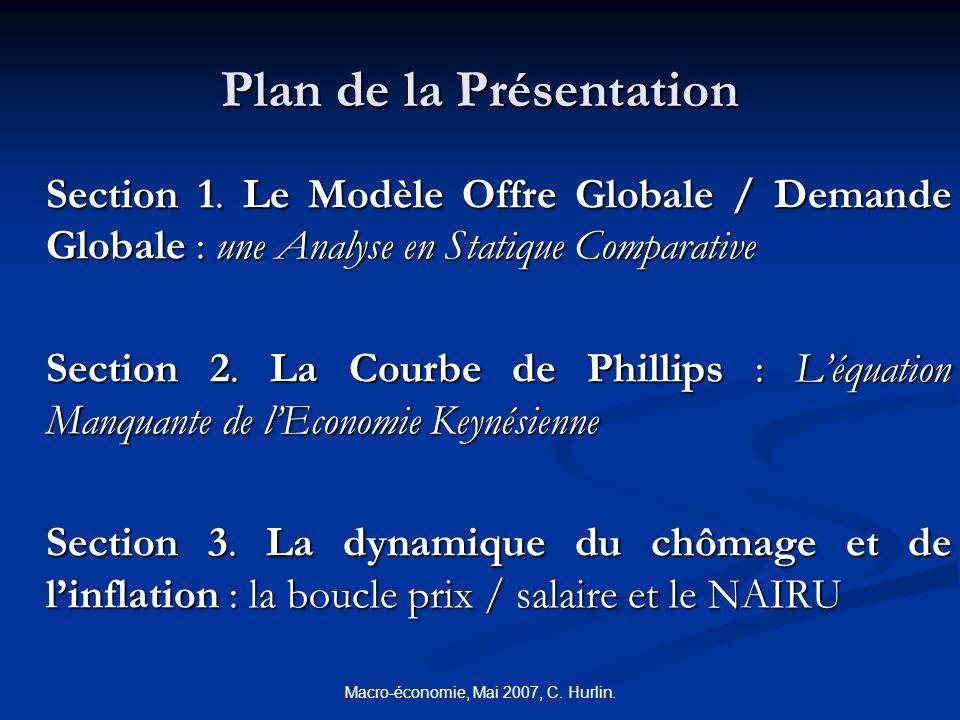 Macro-économie, Mai 2007, C. Hurlin. Plan de la Présentation Section 1. Le Modèle Offre Globale / Demande Globale : une Analyse en Statique Comparativ