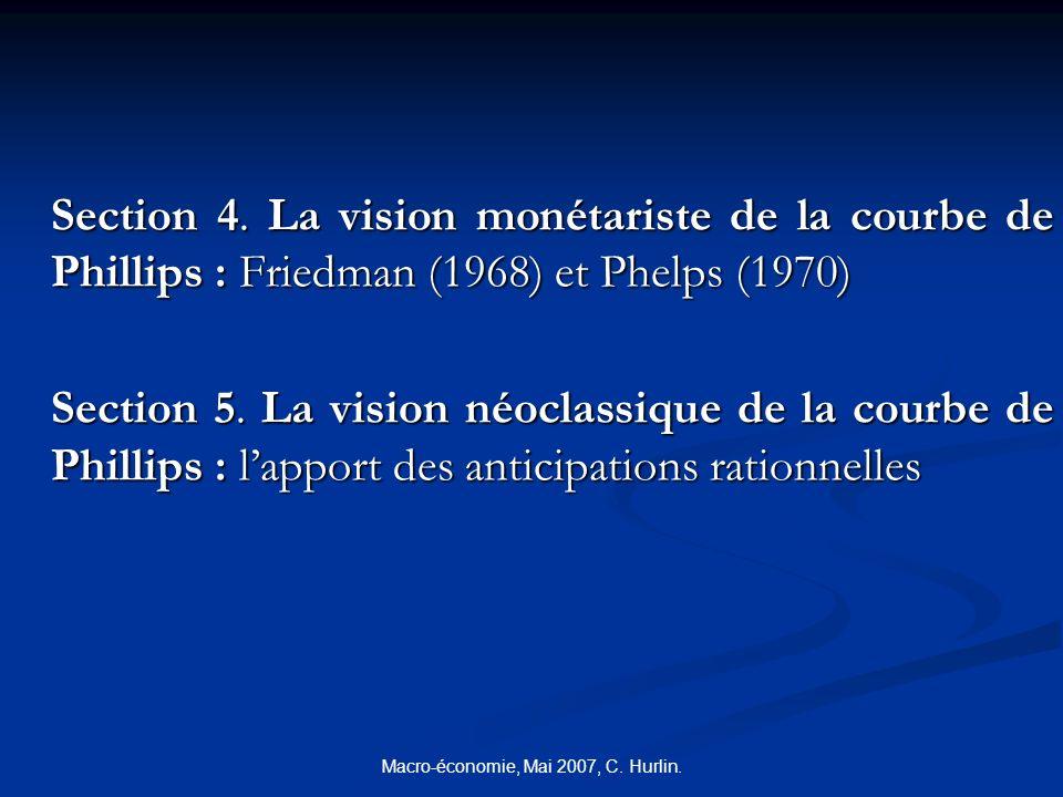 Macro-économie, Mai 2007, C. Hurlin. Section 4. La vision monétariste de la courbe de Phillips : Friedman (1968) et Phelps (1970) Section 5. La vision