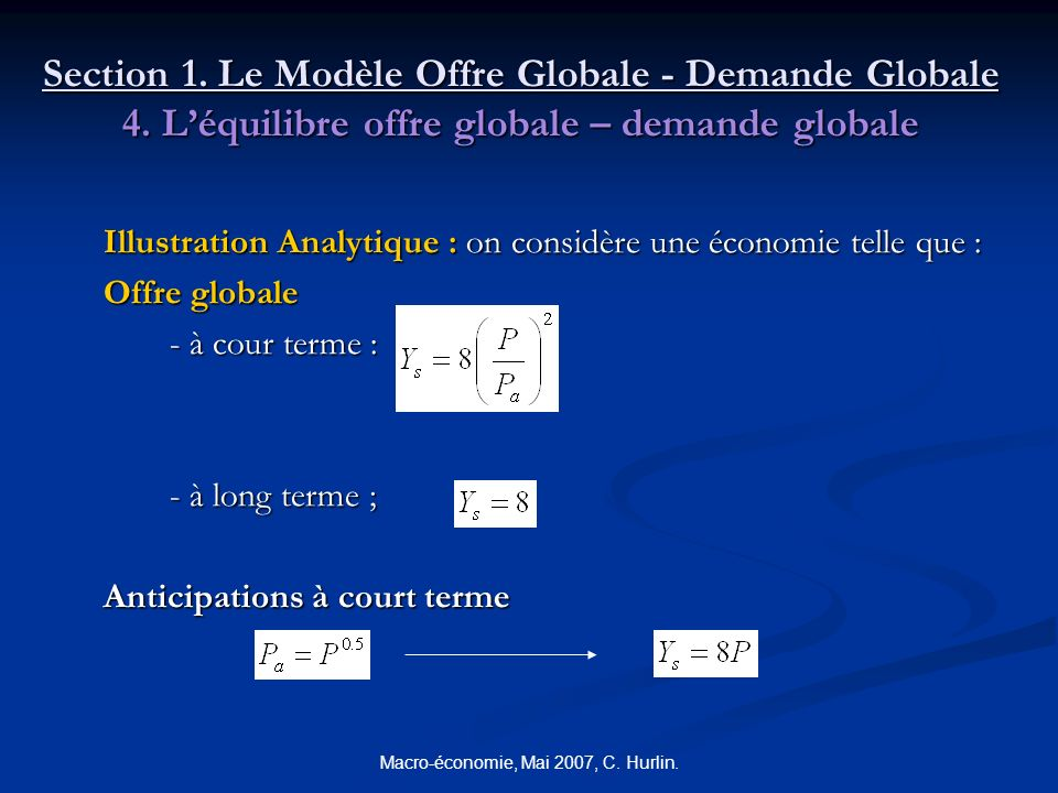 Macro-économie, Mai 2007, C. Hurlin. Section 1. Le Modèle Offre Globale - Demande Globale 4. Léquilibre offre globale – demande globale Illustration A