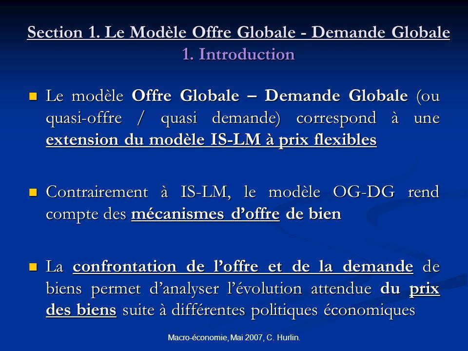 Macro-économie, Mai 2007, C. Hurlin. Section 1. Le Modèle Offre Globale - Demande Globale 1. Introduction Le modèle Offre Globale – Demande Globale (o