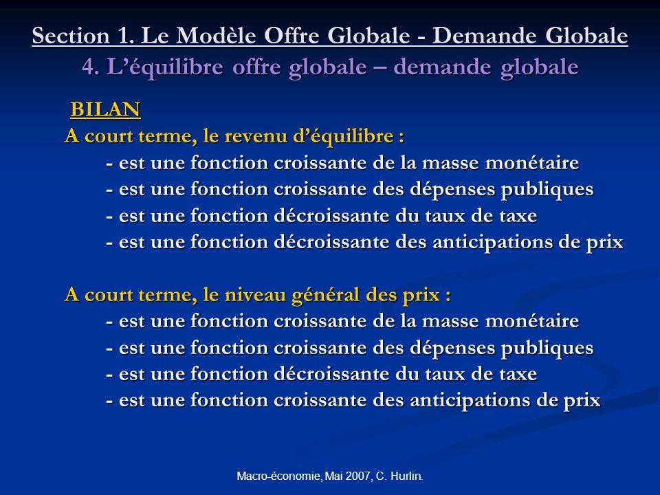 Macro-économie, Mai 2007, C. Hurlin. Section 1. Le Modèle Offre Globale - Demande Globale 4. Léquilibre offre globale – demande globale BILAN BILAN A