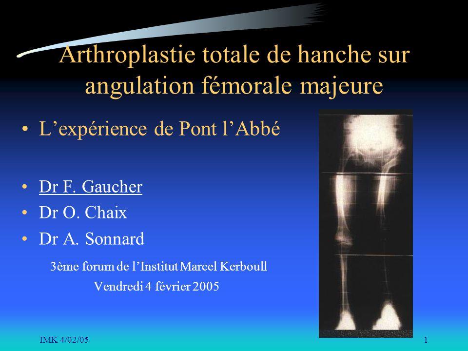 IMK 4/02/051 Arthroplastie totale de hanche sur angulation fémorale majeure Lexpérience de Pont lAbbé Dr F. Gaucher Dr O. Chaix Dr A. Sonnard 3ème for