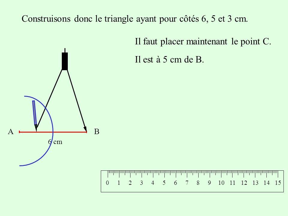 Construisons donc le triangle ayant pour côtés 6, 5 et 3 cm. Il faut placer maintenant le point C. AB 6 cm Il est à 5 cm de B. 0124365107981112131514