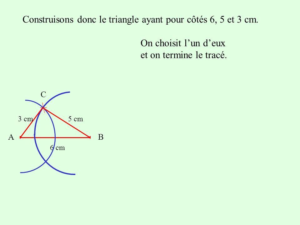 Construisons donc le triangle ayant pour côtés 6, 5 et 3 cm. On choisit lun deux et on termine le tracé. AB 6 cm C 5 cm3 cm