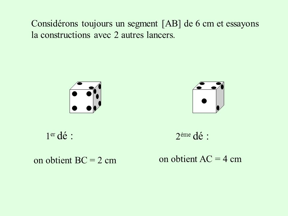 Considérons toujours un segment [AB] de 6 cm et essayons la constructions avec 2 autres lancers. 1 er dé : 2 éme dé : on obtient AC = 4 cm on obtient