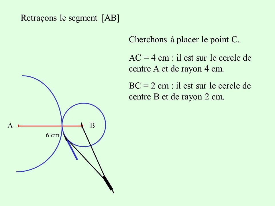 Retraçons le segment [AB] Cherchons à placer le point C. AB 6 cm AC = 4 cm : il est sur le cercle de centre A et de rayon 4 cm. BC = 2 cm : il est sur