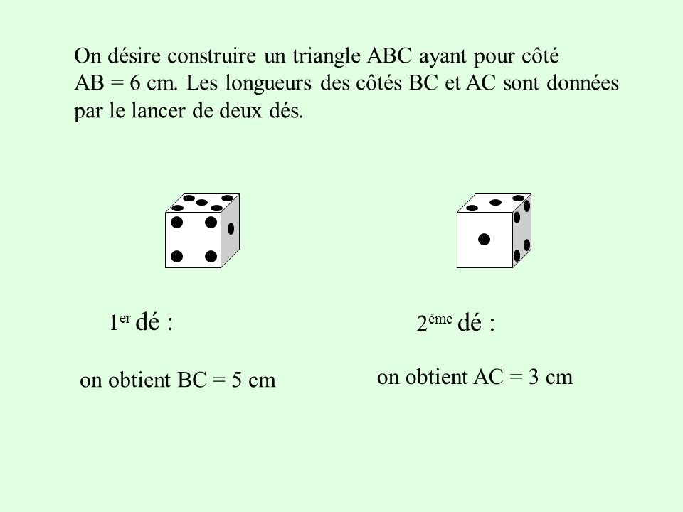 On désire construire un triangle ABC ayant pour côté AB = 6 cm. Les longueurs des côtés BC et AC sont données par le lancer de deux dés. 1 er dé : 2 é
