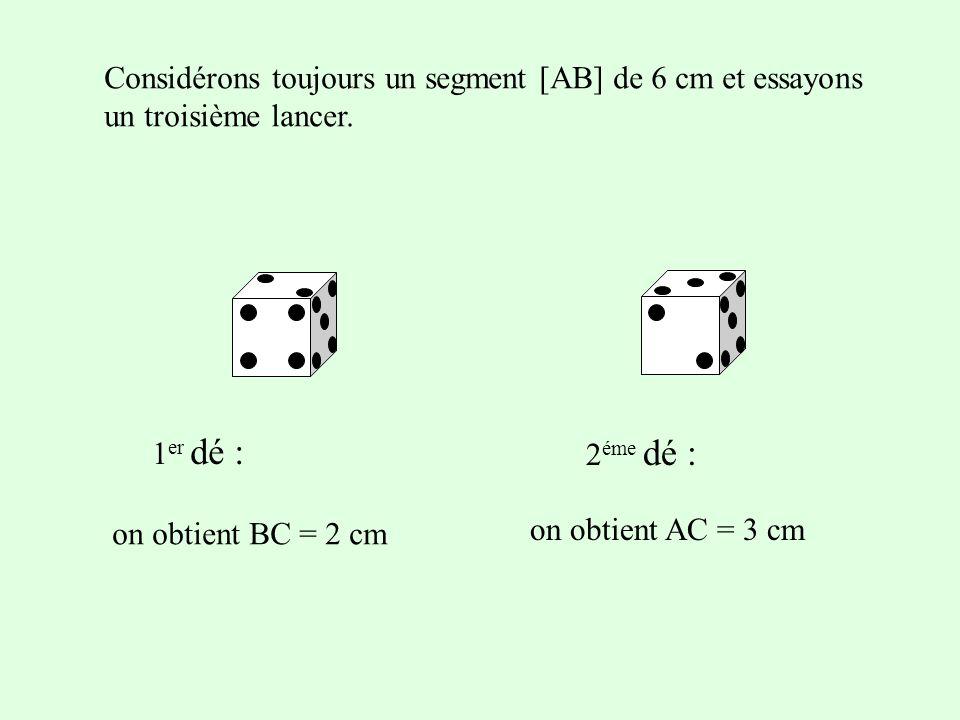 Considérons toujours un segment [AB] de 6 cm et essayons un troisième lancer. 1 er dé : 2 éme dé : on obtient AC = 3 cm on obtient BC = 2 cm