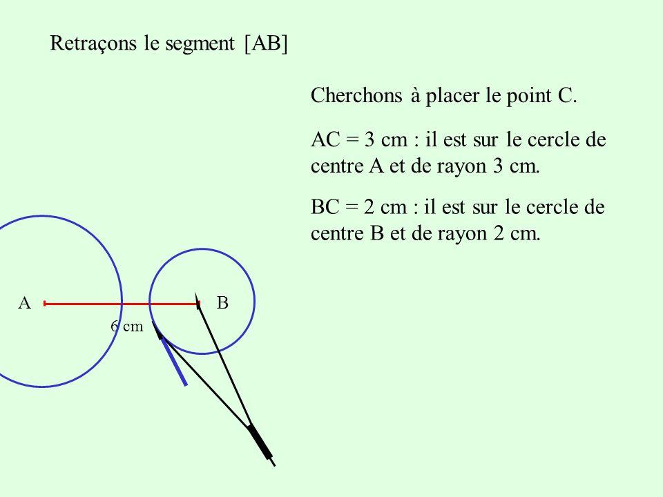 Retraçons le segment [AB] Cherchons à placer le point C. AB 6 cm AC = 3 cm : il est sur le cercle de centre A et de rayon 3 cm. BC = 2 cm : il est sur