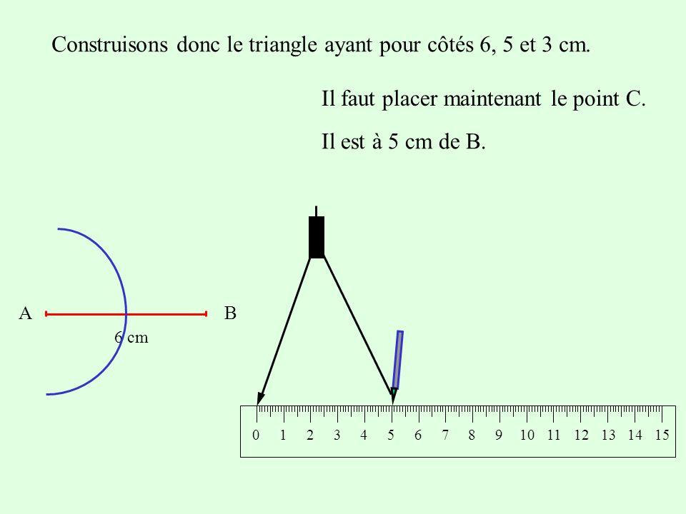 Considérons toujours un segment [AB] de 6 cm et essayons un troisième lancer.