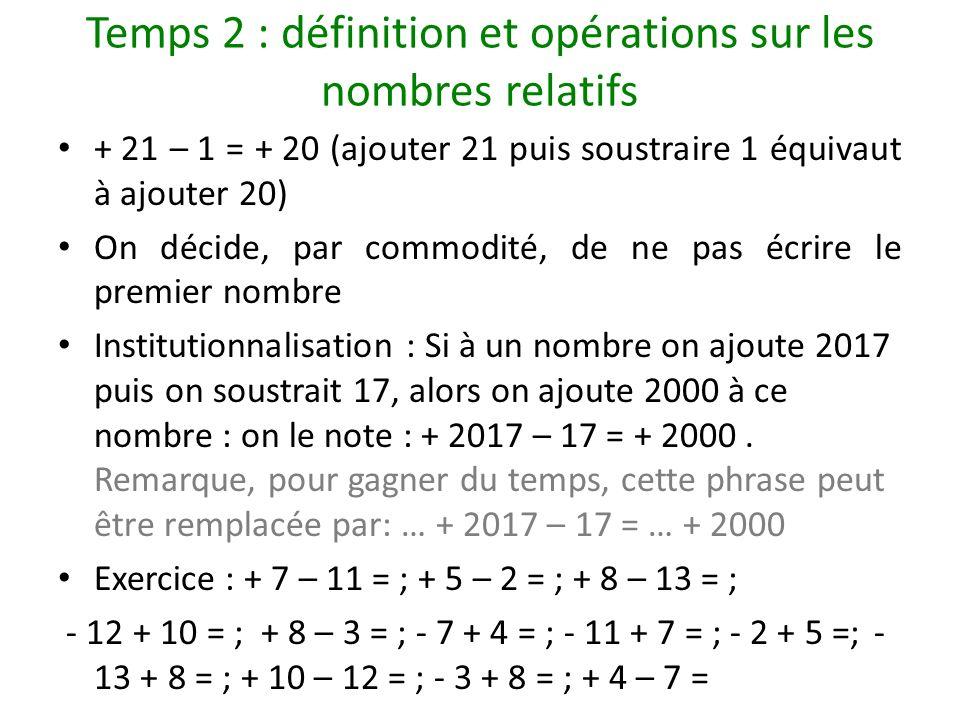 Temps 2 : définition et opérations sur les nombres relatifs + 21 – 1 = + 20 (ajouter 21 puis soustraire 1 équivaut à ajouter 20) On décide, par commod