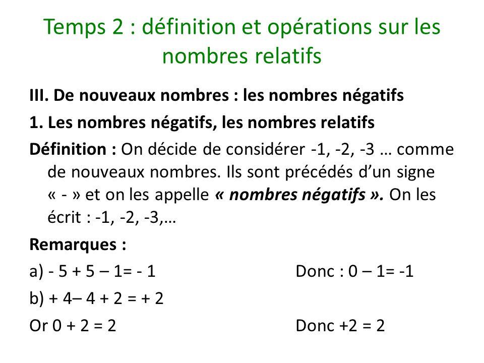 Temps 2 : définition et opérations sur les nombres relatifs III. De nouveaux nombres : les nombres négatifs 1. Les nombres négatifs, les nombres relat