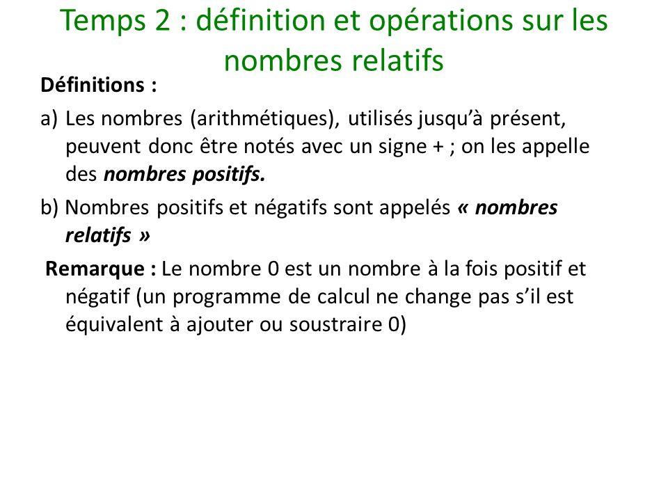 Temps 2 : définition et opérations sur les nombres relatifs Définitions : a)Les nombres (arithmétiques), utilisés jusquà présent, peuvent donc être no