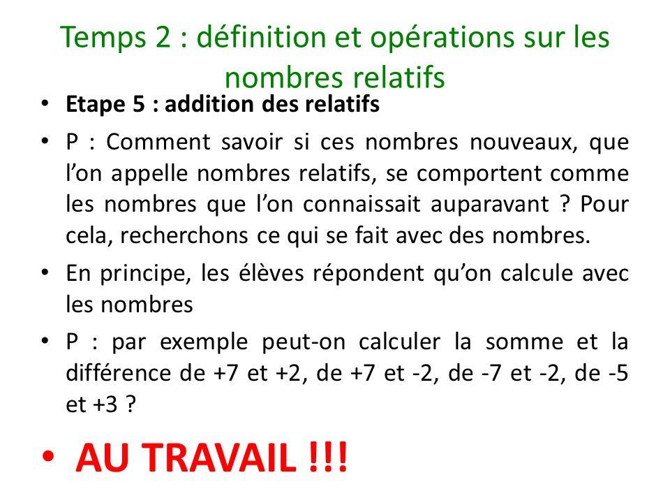 Temps 2 : définition et opérations sur les nombres relatifs Etape 5 : addition des relatifs P : Comment savoir si ces nombres nouveaux, que lon appell