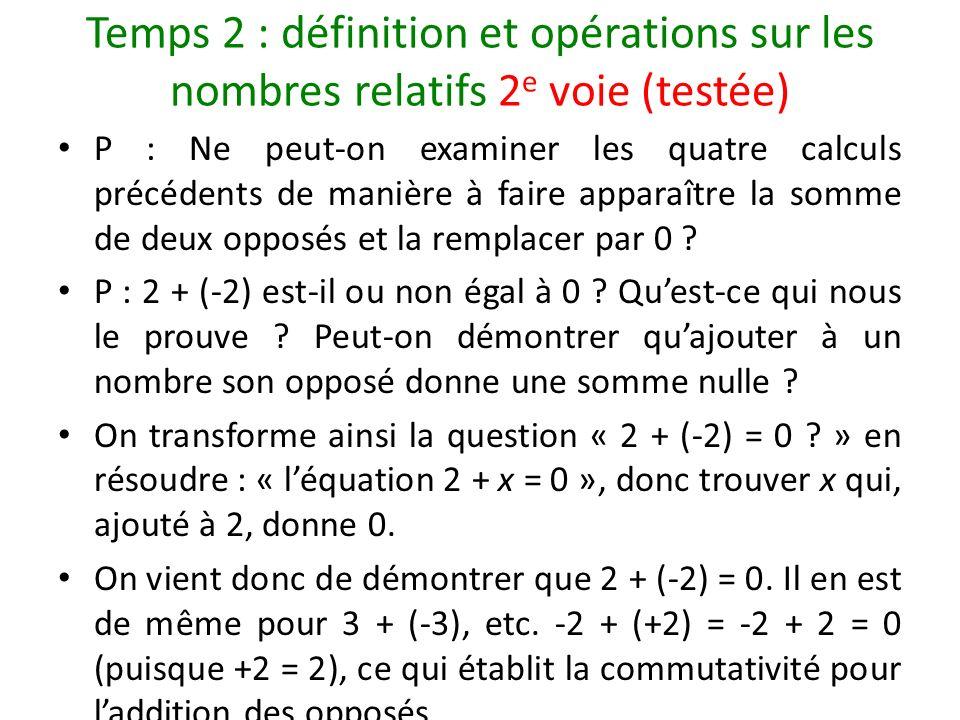 Temps 2 : définition et opérations sur les nombres relatifs 2 e voie (testée) P : Ne peut-on examiner les quatre calculs précédents de manière à faire