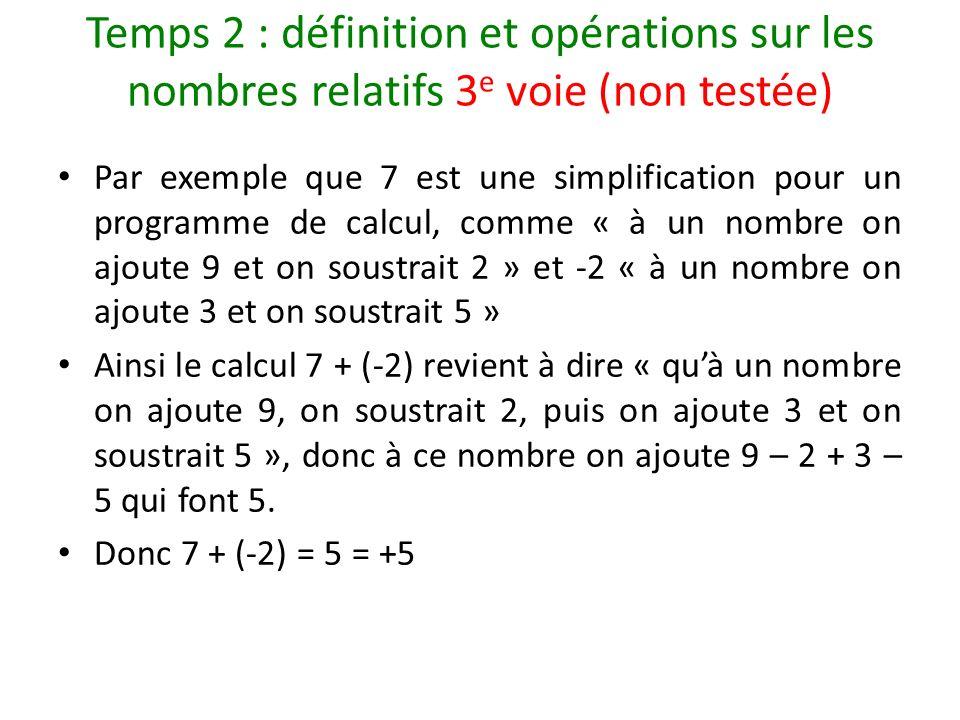 Temps 2 : définition et opérations sur les nombres relatifs 3 e voie (non testée) Par exemple que 7 est une simplification pour un programme de calcul