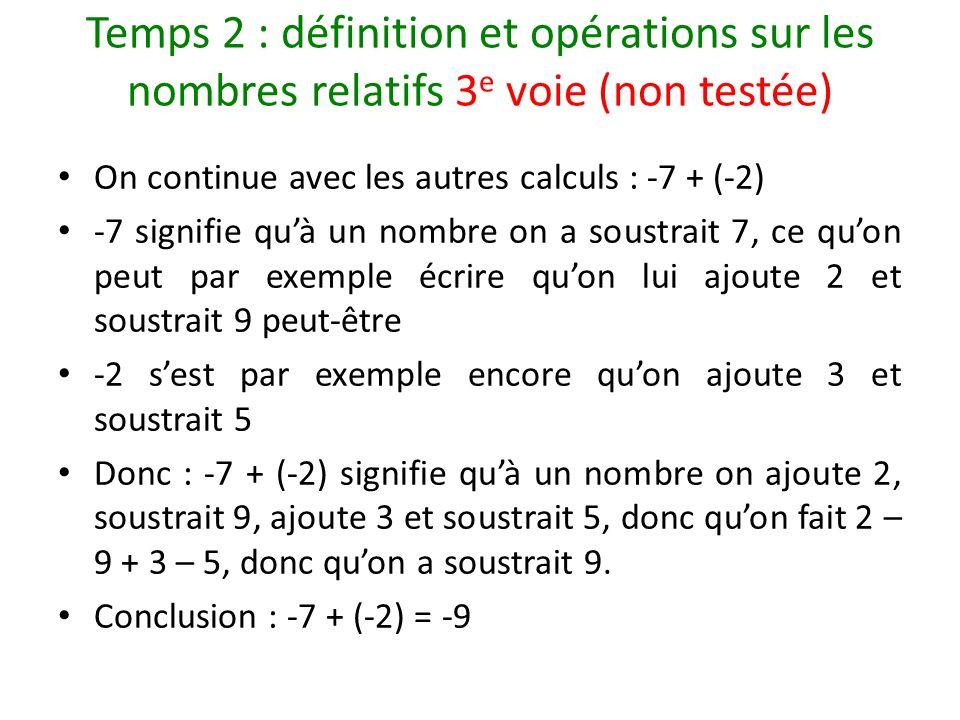Temps 2 : définition et opérations sur les nombres relatifs 3 e voie (non testée) On continue avec les autres calculs : -7 + (-2) -7 signifie quà un n