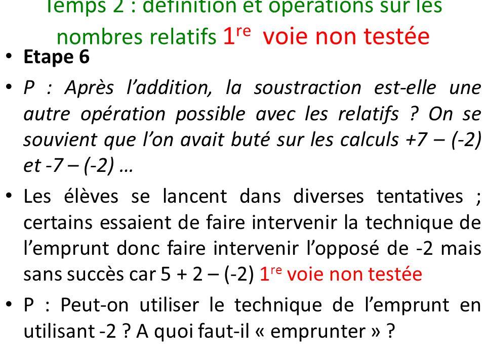 Temps 2 : définition et opérations sur les nombres relatifs 1 re voie non testée Etape 6 P : Après laddition, la soustraction est-elle une autre opéra
