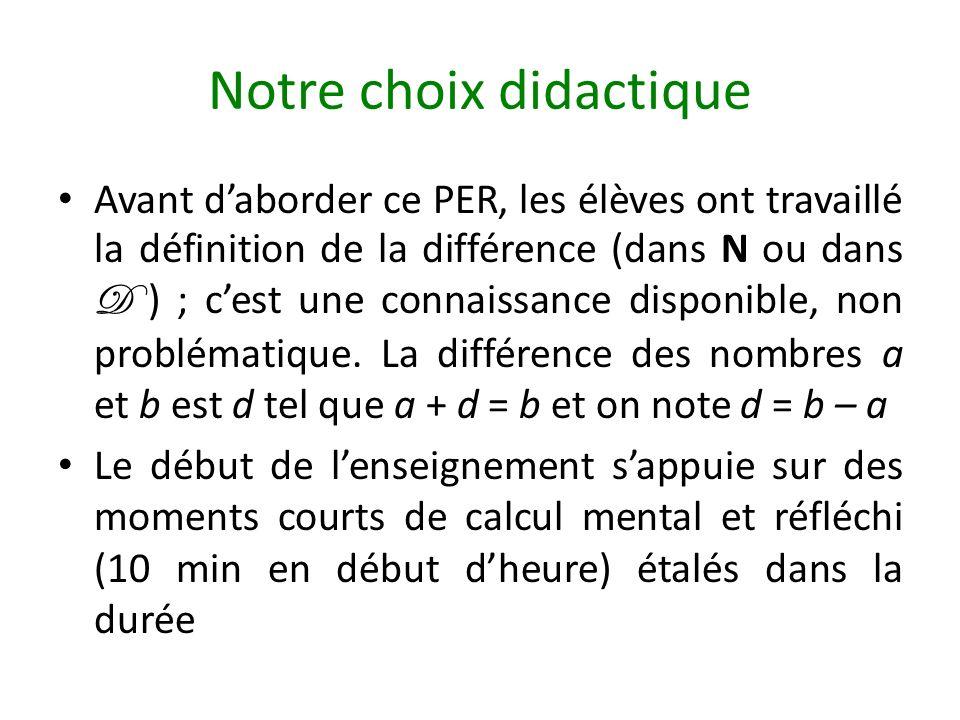 Notre choix didactique Avant daborder ce PER, les élèves ont travaillé la définition de la différence (dans N ou dans D ) ; cest une connaissance disp