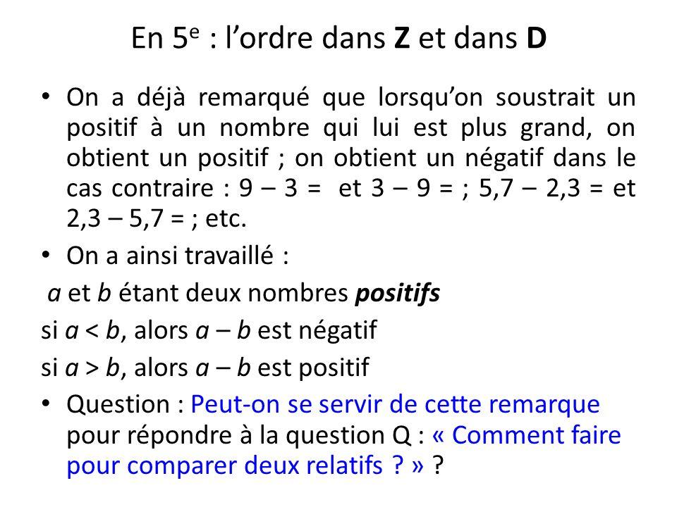 En 5 e : lordre dans Z et dans D On a déjà remarqué que lorsquon soustrait un positif à un nombre qui lui est plus grand, on obtient un positif ; on o