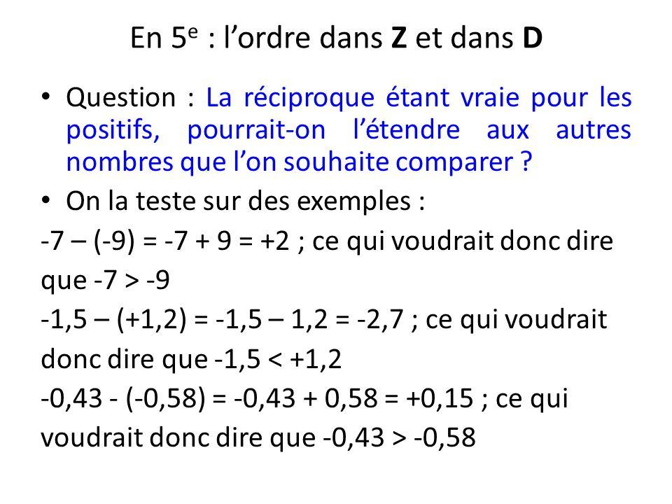 En 5 e : lordre dans Z et dans D Question : La réciproque étant vraie pour les positifs, pourrait-on létendre aux autres nombres que lon souhaite comp