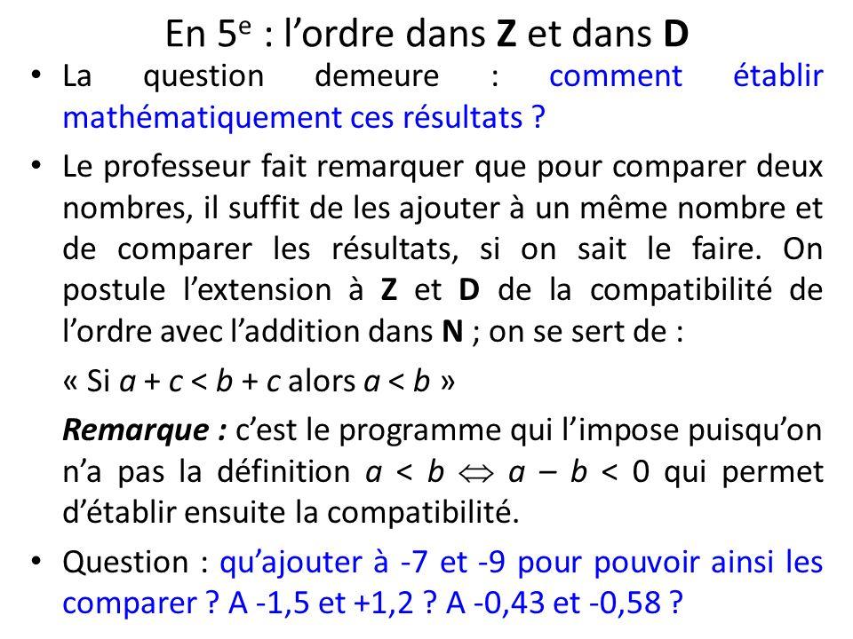 En 5 e : lordre dans Z et dans D La question demeure : comment établir mathématiquement ces résultats ? Le professeur fait remarquer que pour comparer