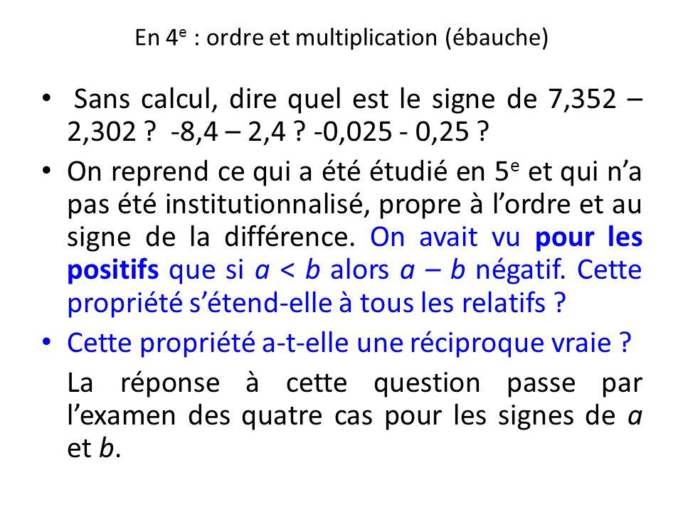 En 4 e : ordre et multiplication (ébauche) Sans calcul, dire quel est le signe de 7,352 – 2,302 ? -8,4 – 2,4 ? -0,025 - 0,25 ? On reprend ce qui a été